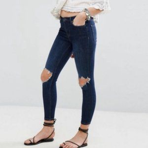 FREE PEOPLE Busted Knee Skinny Jeans Dark Blue 26
